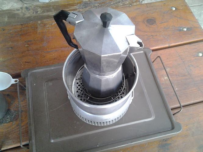 trangia kit coffee perculator standing on grid